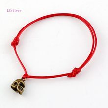 20 Pcs Antique Bronze Alloy 3D Small Football Helmet Charms Red String Good Luck Adjustable Bracelets B-27(China)
