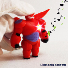 Armored Red Baymax figure toy LED Light+Sound+Wings Movable Mobile phone pendant Car&Bag deco Giveaway Torch Keychain Keyring