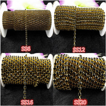 DIY 1yard,SS6/12/16/20,Black Glass Crystal Rhinestone Gold base chain rhinestone chain for phone, cup, mouse,clothes