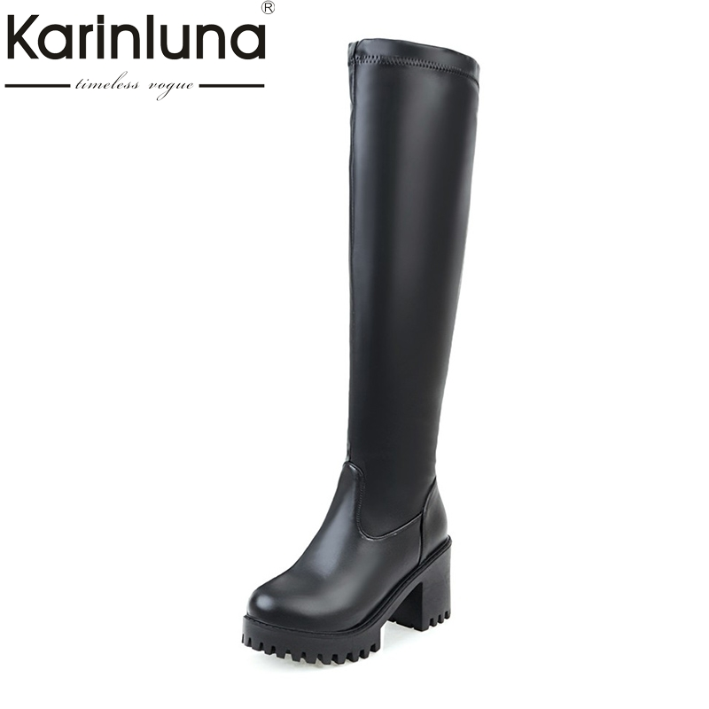 KARINLUNA New Large Size 34-45 Thick Platform Women Shoes Woman Sexy Slip On Square High Heels Long Boots Winter Black White<br>