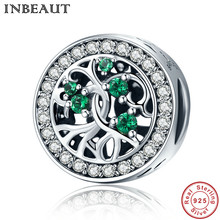 INBEAUT Hot Sale Genuine 925 Sterling Silver Tree Of Life Beads Green CZ Charm Fit Pandora Bracelet DIY Jewelry Gift(China)