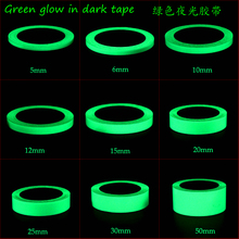 Green Glow In Dark Wall Sticker Luminous Photoluminescent Tape Stage Home Decoration 10~12h Glow Width: 5mm ~ 50mm x 10Meter