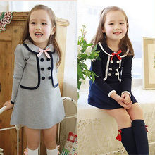 2016 Summer Baby Kids Girls One-piece Long  Sleeve  Party Wedding Bowknot Gown Fancy Dress 2-7Y