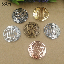 BoYuTe 10Pcs 35MM Brass Filigree Round Pendant 6 Colors Etched Sheet Diy Pendant Charms for Necklace Jewelry Making