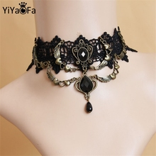 YiYaoFa Choker Necklace Women Necklace Gothic Jewelry Vintage Lace Necklace & Pendant False Collar Women Accessories GN-08(China)