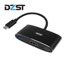 DZLST USB C to HDMI 3 Port Hub Multiport Adapter Type C to Type C 3.1/USB 3.0/HDMI for Phone Macbook Chrome Book HP DELL