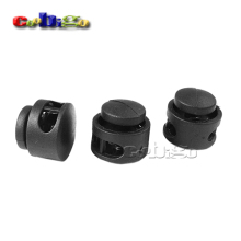 5pcs Pack Black Cord Lock Clamp 2 Hole Toggle Clip Stopper Paracord Shoelace Backpack Bag Parts Accessories 11x17mm #FLS012-B