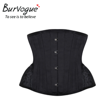 Burvogue Steampunk Corset Cincher Underbust Bustiers Short-Waist-Trainer Embroidery Curved-Hem