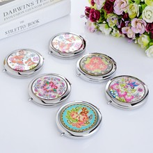 1pcEuropean American style stainless steel pocket mirror Two sided makeup mirror cosmetic compact mirror miroir de poche espelho(China)