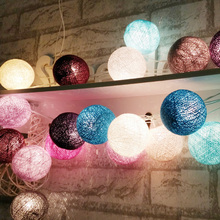 New design 20Balls/set Purple-Blue-Gray Tone mixed cotton ball String Fairy lights Party home Patio wedding Romantic decor(China)