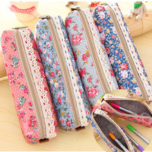 1PCS Fresh Canvas Retro Style Lace Fringe Little Flower Dot Multi-function Zipper Pencil Bag Storage Bag Student Gift Stationery