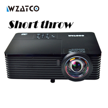 WZATCO 6000Lumens Business meeting Education Daylight Video Full HD 1080P Digital 3D DLP Short throw Projector Beamer Proyector(China)