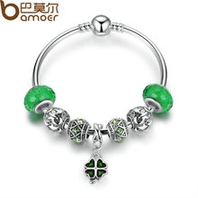 BAMOER 2017 Summer Collection Silver Green Clover Pendant Charms Bracelet & Bangle with Women Lucky Jewelry 17CM 19CM PA3079(China)