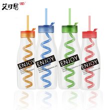 Smoothie Water Bottle Sport Smoothie Bottle Withe Straw Leak-Proof Creative Fruit Juice For Summer Water Bottles Ice Plastic(China)