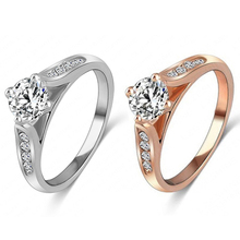 New Fashion Women Zircon Gem Delicate Rose Gold Alloy Ring for Bridal Wedding Engagement 5YQF