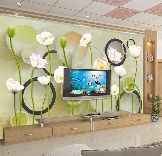 Custom circle wall paper, 3D circle and flower murals for the living room bedroom TV background wall waterproof wallpaper<br>