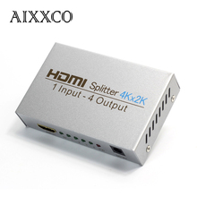AIXXCO Ultra HD Silver 4K x 2K 3D 1080p HD 1.4 HDMI Splitter switcher Out 4 Display For HDTV DVD PS3