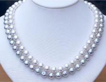 "free shipping DOUBLE STRANDS SOUTH SEA 9-10MM WHITE GREY PEARL NECKLACE 18""19"" r a()"
