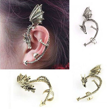 1pc Retro Vintage Gothic Rock Punk Gold Silver Dragon Ear Cuff  Earring Wrap Clip On Earrings Clip Clamp