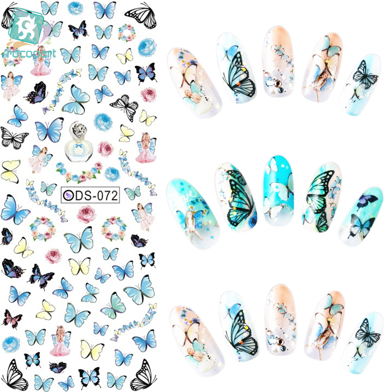 Rocooart DS072 2018 Nail Design Water Transfer Nails Art Sticker Color Butterfly Nail Wraps Sticker Watermark
