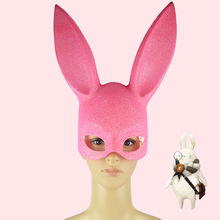 A Halloween Costume Party Dress Up Cosplay Rabbit Mask Rabbit Ears Half Face Face Mask Props X822-3(China)