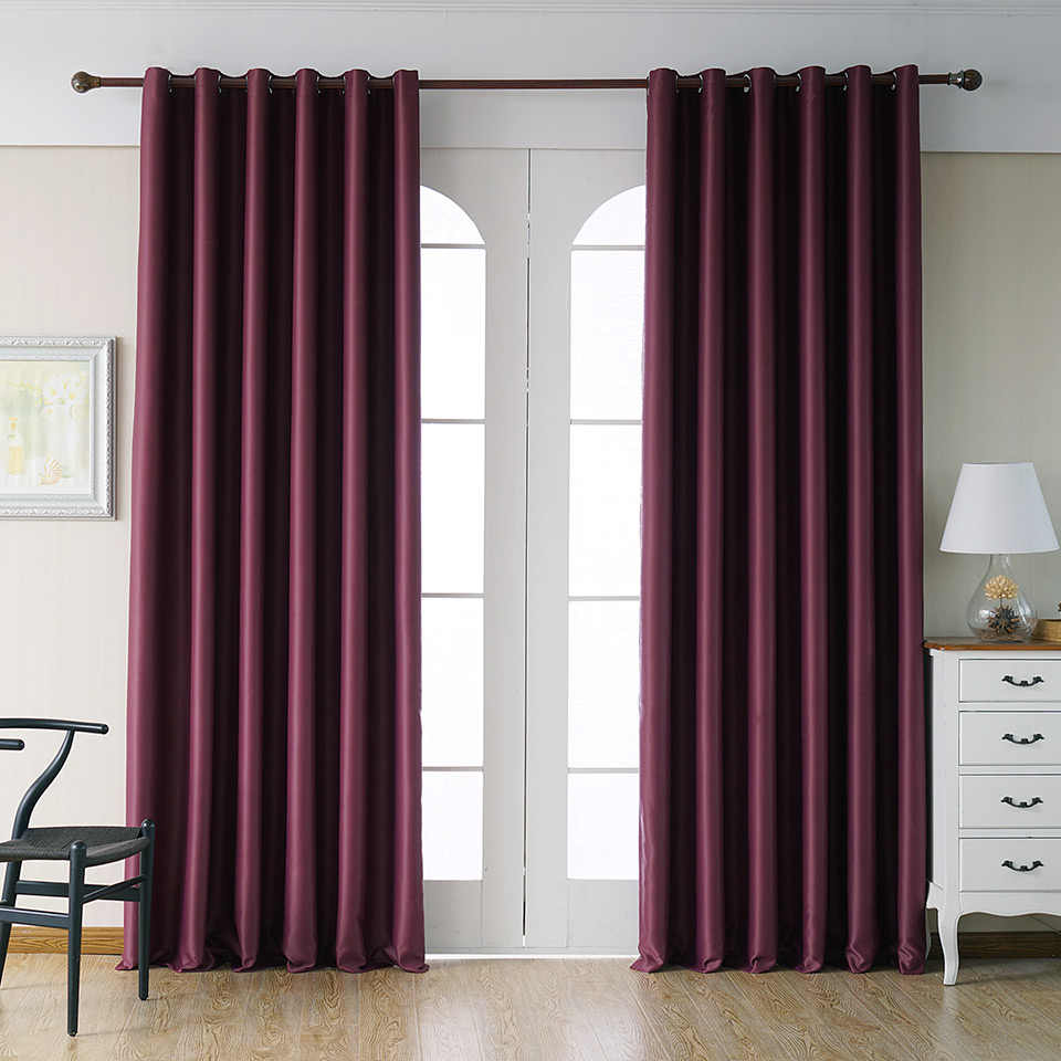 Thick Cloth Curtain for Bedroom High Density Polyester Solid Color  Blackout Balcony Window Drapes JS11C