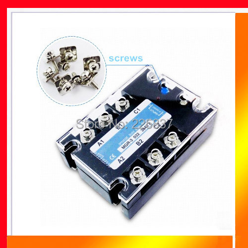 Free shipping high quality TSR-40AA 40A 70-280vAC to 380vAC AC-AC 3 phase 3-phase three phase solid state relay SSR relay<br>