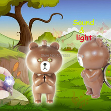Bear  voiced LED flashlight key chain car lovers gift phone bag pendant ornaments Creative toys Novelty Lighting free shpping
