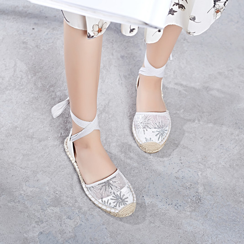 Canvas Summer Women's Espadrille Sandals Flats Ankle Strap Hemp Bottom Fisherman Women Shoes For 2018 SpringAutumn Women Loafer (1)