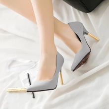Hot 2017 Spring Autumn Women PU Leather Sexy Black Gray Pink High Heels Shoes Fashion Pointed Toe Wedding Shoes Party Women Shoe