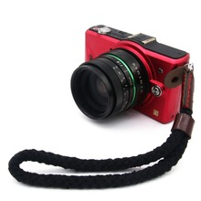New fashion Vintage Pure cotton PU Leather  Organization Camera hand strap for DSRL Handmade black Y free  shipping