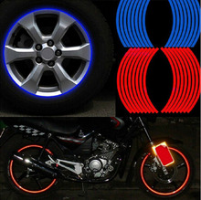 "16 stks Strips Motorfiets Wiel Sticker 17 ""18"" Reflecterende Decals Velg Tape Fiets Auto Styling Voor YAMAHA HONDA harley BMW Groothandel(China)"