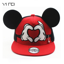 2017 New Cartoon Cute Mickey Baseball Cap Big Ear Mouse Snapback Hats Children Kids Brand Hip-hop Cap Bone Gorra Chapeau(China)