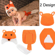 ideaBee Brand Hot Sale Kids Cap Fox Baby Yarns Hand Knit Baby Hats Beanies 1-12month 100%Handmade Bonnet Photography Prop