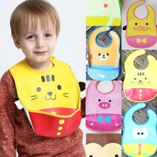 cute cartoon animal pattern PVC soft plastic Baby Bibs Newborn feeding cloth cover waterproof Meal Pocket Pick Rice Pocket(China)