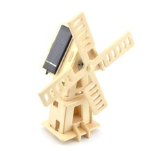 DIY Painting Puzzle Solar Powered 3D Wooden Small Windmill Model Woodcraft Educational Toy