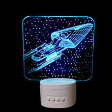 3D Lamp Star Trek Bluetooth Speaker USB Music 3D Night Light 5 Color Change LED Lampara Bedroom table Lamp For Christmas Gift