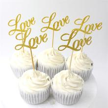 KSCRAFT Shiny Gold/Silver Love Cupcake Topper Set for Wedding Party Cake Decoration Supplies 10pcs