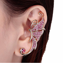2017 New high quality Ladies Fashion Cute Crystal Butterfly Wings Ear Clip Elegant Ladies ear stud Gift for girls Free shipping