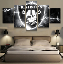 5 Pcs Oakland Raiders Logo Wall Art Picture Modern Home Decoration Living Room Or Bedroom Canvas Print Painting Wall Picture