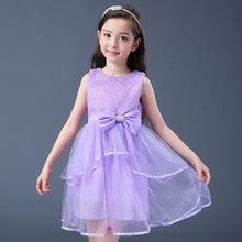2017 New Summer Girls Dress New Cotton Cents Beauty Flower Girl Dresses Pompon Chiffon Dress Ball Gown Sleeveless Girls Clothes(China)