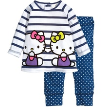 Kitty Girls Clothes Sets Long Sleeve T-Shirts Stripe Tee Shirts Polka Dot Kids Trousers Tights Girls Blouse Dresses Outfits(China)