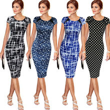 New Fashion Women Bandage PU Leather Dress Sexy Short Sleeve Polka Dot Stars Print Party Pencil Dresses Black Blue(China)