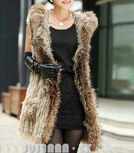 EMS FREE SHIPPING*Knitted Rabbit Fur Vest/  Rabbit Fur Gilet With Hood Raccoon Trimming  Fur Waistcoat NO. SU-1233