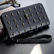 Fashion wallets women vitage punk style skull head wallet medium long style PU leather lady coin purse