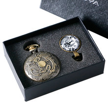 2017 New Arrival Retro Luxury Dragon Pocket Watch With Pendant Necklace Chain Gift Box Set YISUYA23