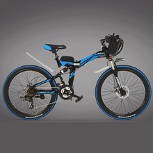 Brand Lankelsisi, High-carbon Steel Frame, 21 Speeds, 26 inches, 36/48V, 240W, Folding Electric Bicycle, Disc Brake. E Bike.(China)