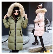 Winter new women's clothing women's cotton women's long hair collar hats Slim down jacket large size cotton jacket thick jacket