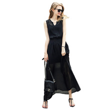 Fashion Women Long Party Dress Sexy Sleeveless Maxi Floor Length Dress Chiffon Black Dress Vestidos Casual(China)