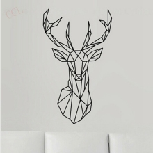 Geometric Deer Head Wall Sticker Modern Home Decor Geometry Animal Series Decals 3D Vinyl Wall Art